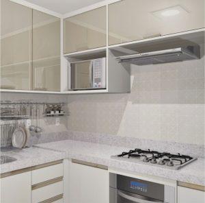cozinha branca com depurador